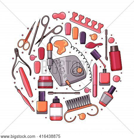 A Set Of Manicure Equipment. Collection Of Various Tools: Nail File, Nail Clippers, Scissors, Nail P