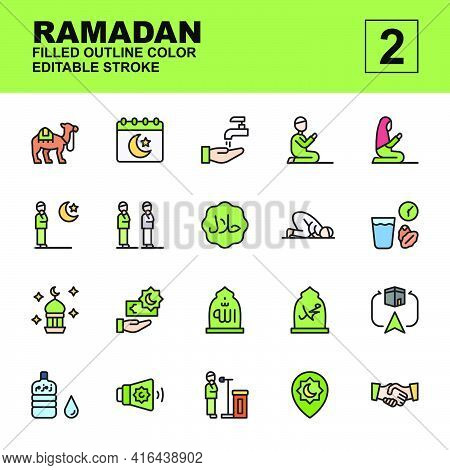 Icon Set Ramadan Made With Filled Outline Color Technique, Contains A Camel, Salat, Iftar, Prayer, H