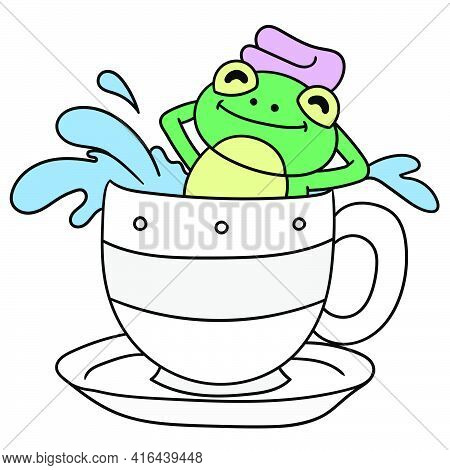 The Frog Is Taking A Warm Bath In A Cup, Doodle Draw Kawaii. Vector Illustration Art