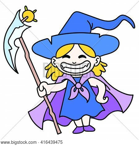 The Young Witch Using The Magic Wand Laughed Happily, Doodle Draw Kawaii. Vector Illustration Art