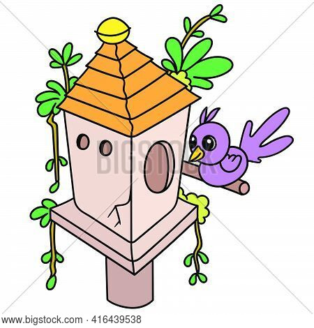 A Little Bird Perched In An Aviary, Doodle Draw Kawaii. Vector Illustration Art