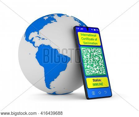 digital passport of vaccination in phone on white background. Isolated 3D illustration