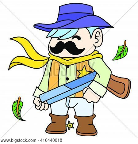 A Cowboy Serif With A Thick Mustache Carrying A Shotgun, Doodle Draw Kawaii. Vector Illustration Art