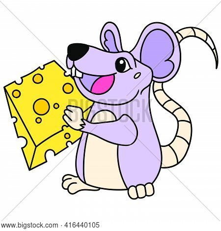 The Mouse Happily Brings A Slice Of Cheese To Eat, Doodle Draw Kawaii. Vector Illustration Art