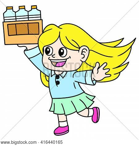 Girls And Women Are Bringing Bottled Drinks To Be Served, Doodle Draw Kawaii. Vector Illustration Ar
