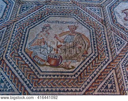 Homer And Calliope - Ancient Greek Poet And 1 Of 9 Muses - Portrayed In Medalion With Geometric Orna