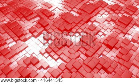3d Illustration. Realistic Reds Are Volume Cubes With A Shadow Of The Same Size, Located In Space At