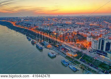 Galati, Romania - March 19, 2021: Aerial View Of Galati City, Romania. Danube River Near City With S