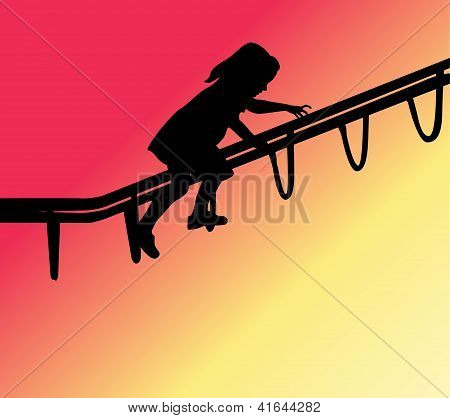 Silhouette of child climbing on playground equipment poster