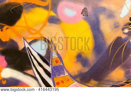 Paint On Canvas: Abstract Art In Pink, Yellow, Black, Orange And Violet - Background.