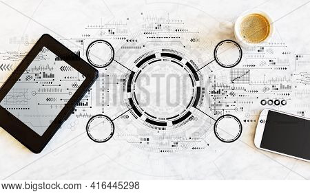 Tech Circle With A Tablet Computer And Smart Phone