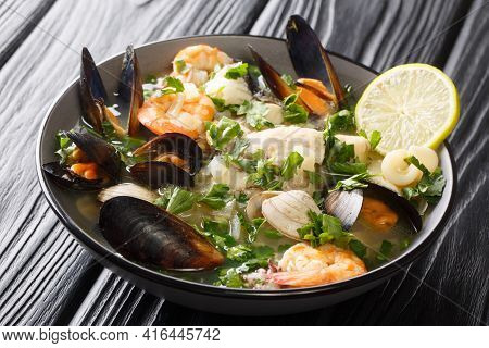 Paila Marina Is A Traditional Chilean Stew Consisting Of A Shellfish Stock Combined With A Variety O