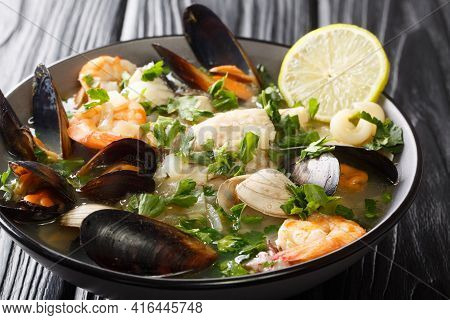 Seafood Shellfish Soup Of Mussels, Shrimps, Clams And Other Shellfish Typical Chilean Dish Paila Mar