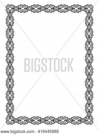 Decorative Black Openwork Frame On A White Background