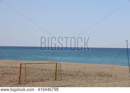 Metal Gates For Minifootball On A Deserted Beach Visible Through A Thin Barrage Net, Alanya, April 2