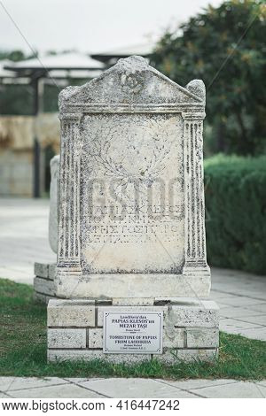 Slab In Garden Of Hierapolis Museum With Signature: From Laodicea, Papias Flares, Tombstone, Roman A