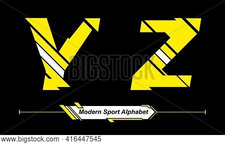 Vector Graphic Alphabet In A Set Y,z With Abstract Yellow And White Modern Sport Font Style