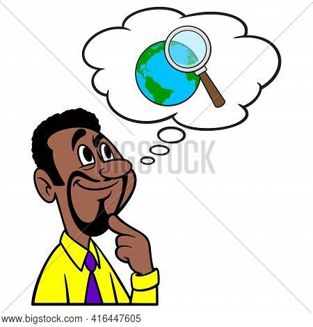 Man Thinking About Global Research - A Cartoon Illustration Of A Man Thinking About Global Research