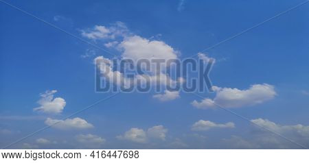 Cumulus White Clouds In The Blue Sky Natural Background Beautiful Nature Space For Write