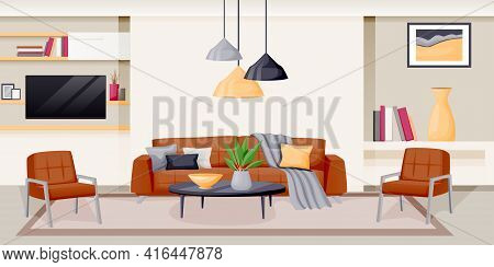 Modern Living Room Interior. Vector Flat Cartoon Illustration. House Luxury Apartment. Contemporary