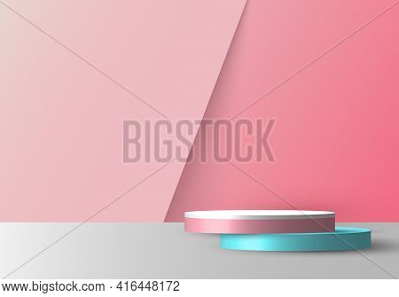 3d Realistic Empty Pink, Blue And White Round Pedestal Mockup Overlapped On Soft Pink Backdrop. Stag