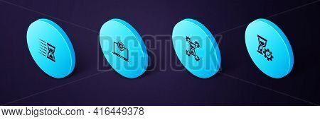 Set Isometric Hourglass Setting, , Laptop And Old Hourglass With Sand Icon. Vector