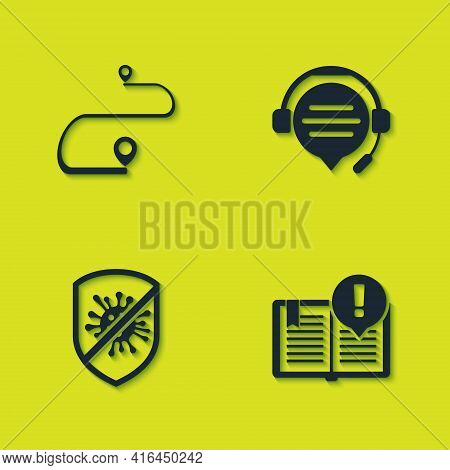 Set Route Location, Interesting Facts, Stop Virus, Bacteria And Headphones With Speech Bubble Chat I