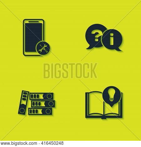 Set Mobile Service, Interesting Facts, Office Folders And Question And Exclamation Icon. Vector