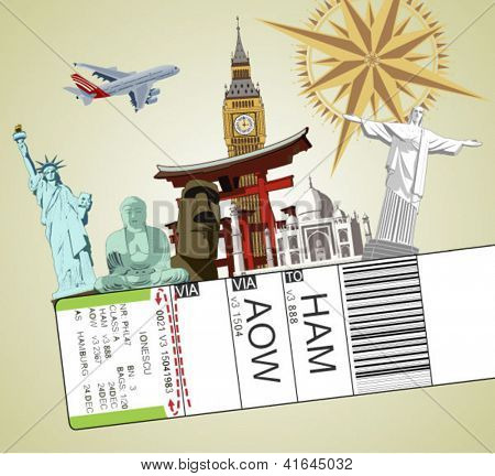 illustration of baggage tag with famous monument around the world