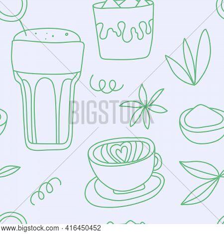 Vector Hand Drawn Matcha Illustration On Contrast Seamless Background. Matcha Green Tea. Line Art
