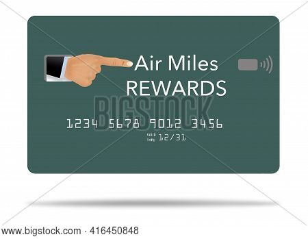 A Finger Points At The Title Of A Generic Air Miles Rewards Credit Card In This 3-d Illustration.