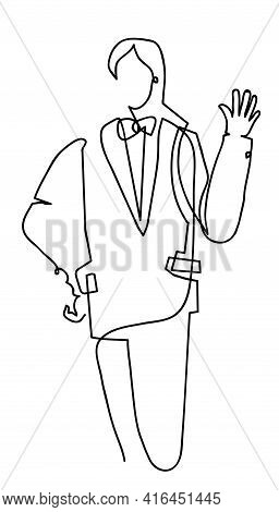 One Line Drawing Of Man In Tuxedo Waving Hand. One Continuous Line Drawing Of Happy Man Waving Hand.