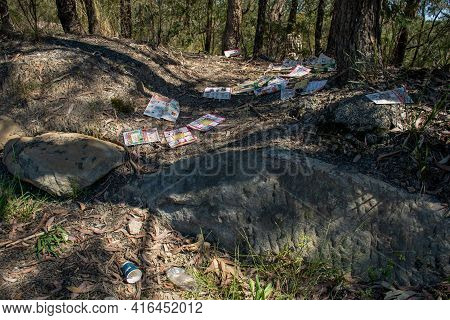 Sydney, Australia 2020-10-10 Illegal Dumping And Littering - Piles Of Supermarket Catalogues In The