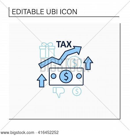 Higher Taxes Line Icon. Higher Percentage. Tax Fee Growth.universal Basic Income Concept. Isolated V