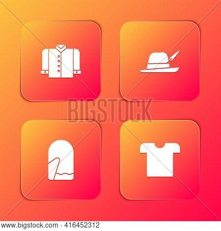 Set T-shirt, Oktoberfest Hat, Christmas Mitten And Icon. Vector