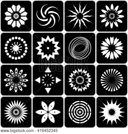 Design Elements Set Abstract Black And White Icons. Vector Art.