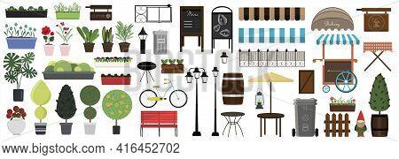 Big Set Of Vector Items For Street, Park Or Garden Design. Flat Illustration Of Different Types Of F