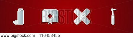 Set Inhaler, Nurse Hat With Cross, Crossed Bandage Plaster And Tooth Drill Icon. Vector