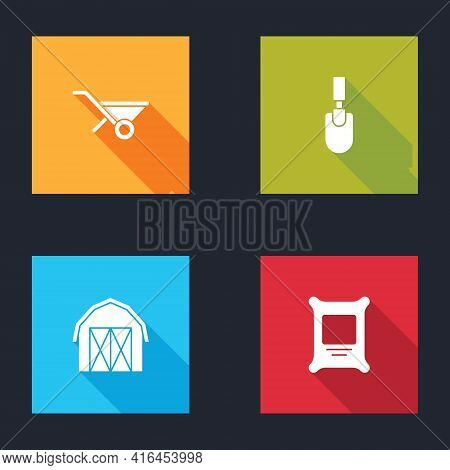 Set Wheelbarrow, Garden Trowel Spade Or Shovel, Farm House And Fertilizer Bag Icon. Vector