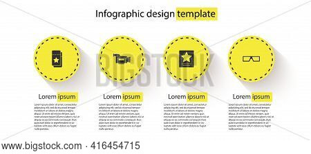 Set Cinema Ticket, Camera, Hollywood Walk Of Fame Star And 3d Cinema Glasses. Business Infographic T
