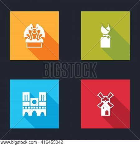 Set Gargoyle On Pedestal, Woman Dress, Notre Dame And Windmill Icon. Vector