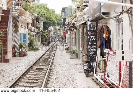 Hanoi, Vietnam - January 04, 2017: An Abandoned Rail In Hanoi