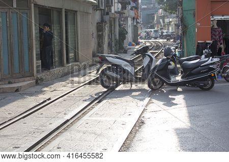 Hanoi, Vietnam - January 06, 2017: An Abandoned Rail In Hanoi