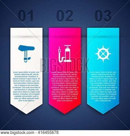 Set Bicycle Seat, Air Pump And Sprocket Crank. Business Infographic Template. Vector
