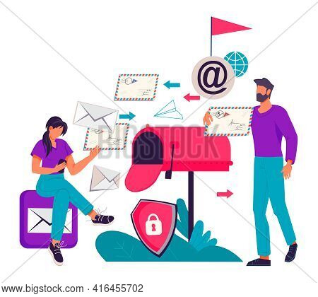 Services Of Business Mailing And Email Marketing Concept With People Next To Huge Mailbox, Flat Vect