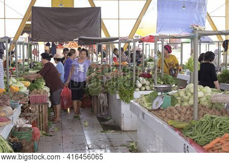 Tomohon, Indonesia - August 12, 2018: View Of Vegetables Area Of Tomohon Market, Famous For Exotic M