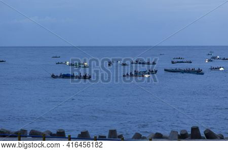 Gorontalo, Indonesia - August 15, 2018: View Of Fish Boats In Front Of Gorontalo At Night