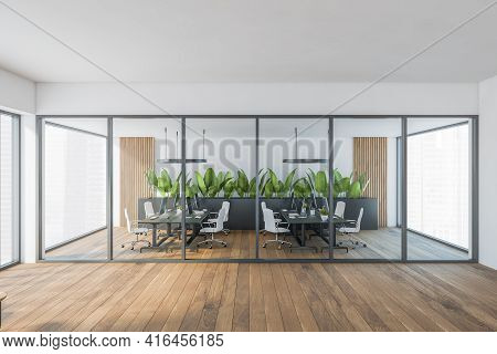 Bright Modern Minimalist Office Room Interior With Glass Partition, Desks With Computer Monitor, Woo
