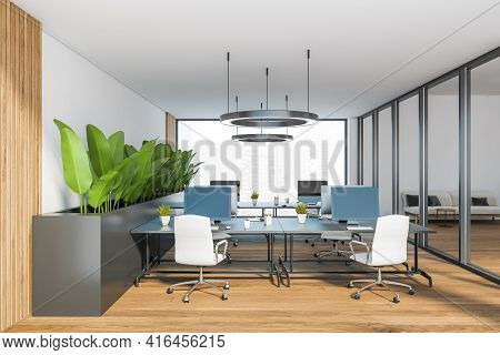 Bright Modern Minimalist Office Room Interior With Desks And Computer Monitor, Glass Partition, Wood