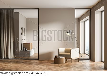Modern Cozy Living Room Interior With Comfortable Armchair, Panoramic Windows With Countryside View,